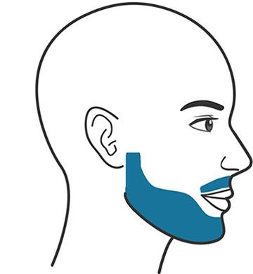 En illustration föreställandes en man med en kurvig skägglinje och mustasch.
