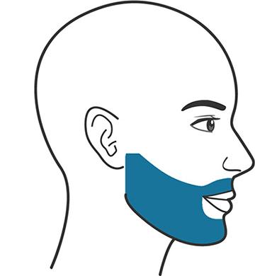 En illustration föreställandes en man med en rund skägglinje.