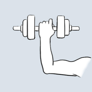 Illustration arm holding workout weights